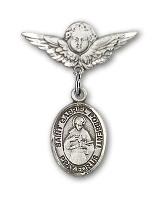 Pin Badge with St. Gabriel Possenti Charm and Angel with Smaller Wings Badge Pin - Silver tone