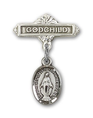 Baby Pin with Miraculous Charm and Godchild Badge Pin - Silver tone