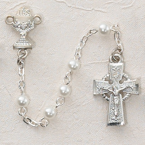 Girl's Irish First Communion Rosary in Sterling Silver - Pearl White