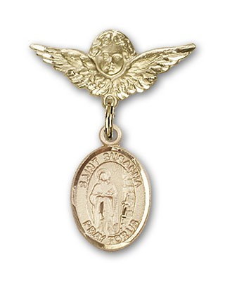 Pin Badge with St. Susanna Charm and Angel with Smaller Wings Badge Pin - 14K Solid Gold