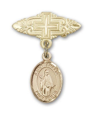 Pin Badge with St. Amelia Charm and Badge Pin with Cross - Gold Tone