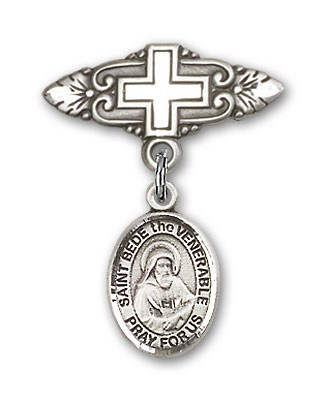 Pin Badge with St. Bede the Venerable Charm and Badge Pin with Cross - Silver tone