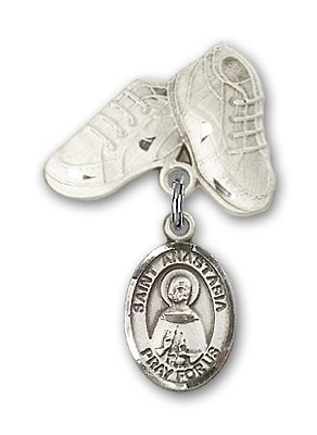 Pin Badge with St. Anastasia Charm and Baby Boots Pin - Silver tone