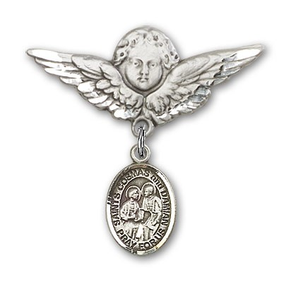 Pin Badge with Sts. Cosmas & Damian Charm and Angel with Larger Wings Badge Pin - Silver tone