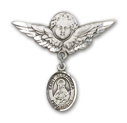 Pin Badge with St. Alexandra Charm and Angel with Larger Wings Badge Pin - Silver tone