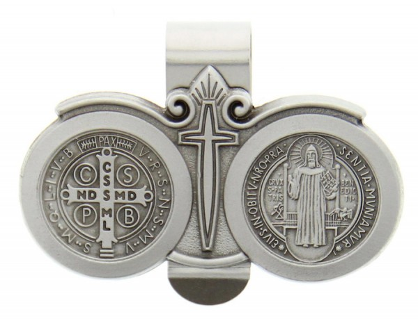 "St. Benedict Auto Visor Clip, Pewter - 2 1/2""W - Silver"