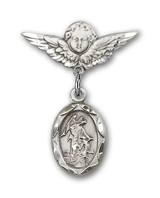 Baby Pin with Guardian Angel Charm and Angel with Smaller Wings Badge Pin - Silver tone