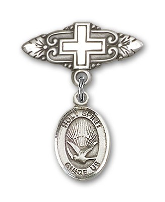 Pin Badge with Holy Spirit Charm and Badge Pin with Cross - Silver tone