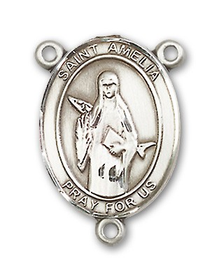 St. Amelia Rosary Centerpiece Sterling Silver or Pewter - Sterling Silver