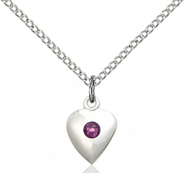Baby Heart Pendant with Birthstone Options - Amethyst