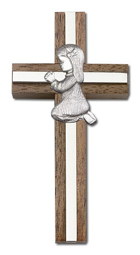 "Praying Girl Cross in Walnut 4"" with Metal Inlay - Silver tone"