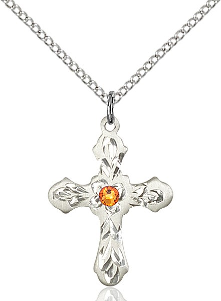 Medium Floral and Petal Cross Pendant with Birthstone Options - Topaz