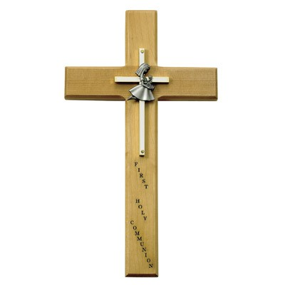 First Communion Girl's Cross - 10 inch - Brown
