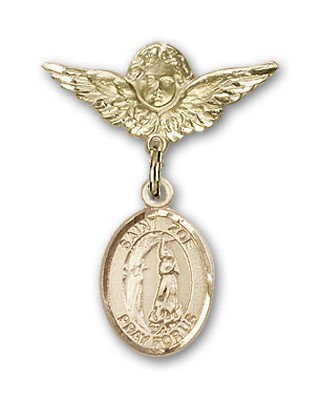 Pin Badge with St. Zoe of Rome Charm and Angel with Smaller Wings Badge Pin - Gold Tone