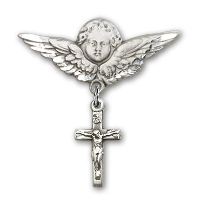 Pin Badge with Crucifix Charm and Angel with Larger Wings Badge Pin - Silver tone