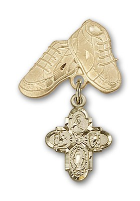 Baby Badge with 4-Way Charm and Baby Boots Pin - Gold Tone