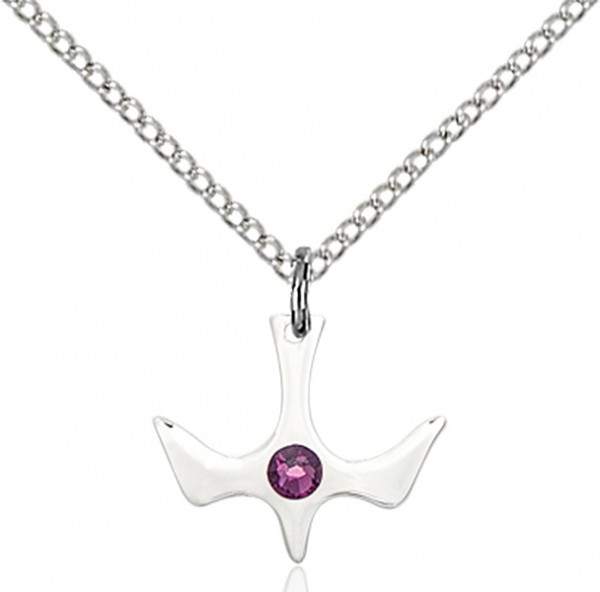 Holy Spirit Pendant with Birthstone Options - Amethyst