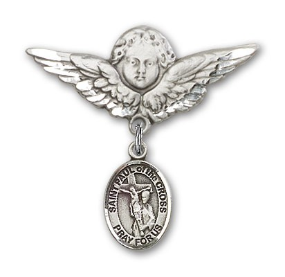 Pin Badge with St. Paul of the Cross Charm and Angel with Larger Wings Badge Pin - Silver tone