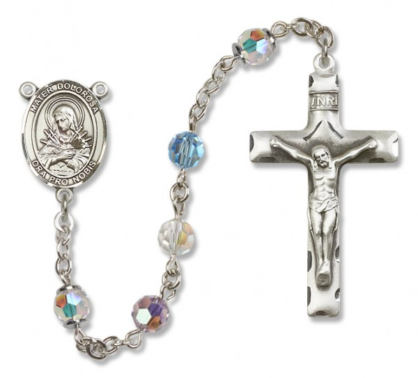 Mater Dolorosa Rosary Our Lady of Mercy Rosary Heirloom Squared Crucifix - Multi-Color
