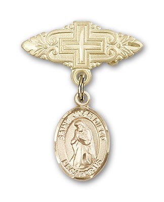 Pin Badge with St. Juan Diego Charm and Badge Pin with Cross - 14K Yellow Gold