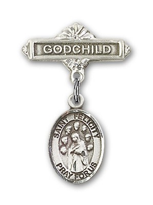 Pin Badge with St. Felicity Charm and Godchild Badge Pin - Silver tone