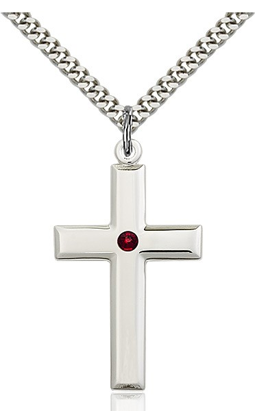 Large Plain Cross Pendant with Birthstone Options - Garnet