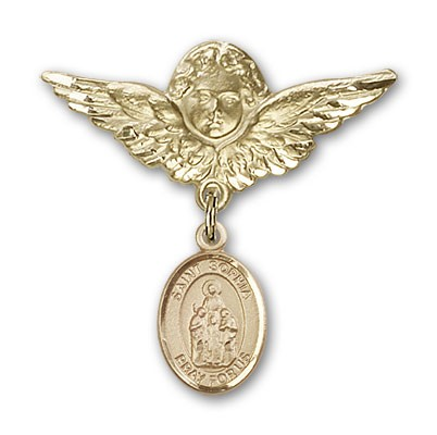 Pin Badge with St. Sophia Charm and Angel with Larger Wings Badge Pin - 14K Solid Gold