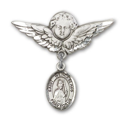 Pin Badge with St. Wenceslaus Charm and Angel with Larger Wings Badge Pin - Silver tone