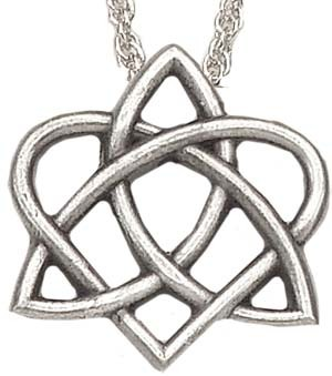 "Celtic Trinity Heart Pendant - 1"" H - Antique Silver"
