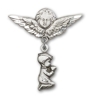 Baby Pin with Praying Boy Charm and Angel with Larger Wings Badge Pin - Silver tone