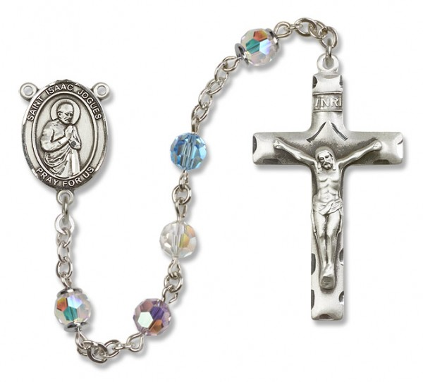 St. Isaac Jogues Sterling Silver Heirloom Rosary Squared Crucifix - Multi-Color