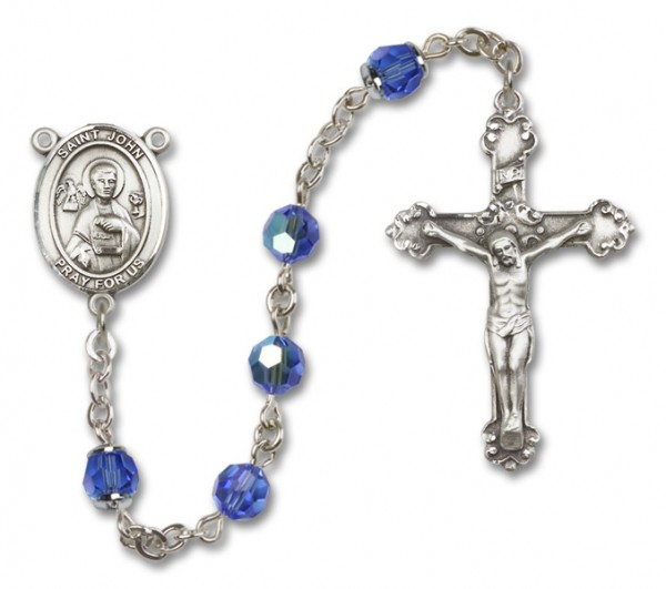 St. John the Apostle Sterling Silver Heirloom Rosary Fancy Crucifix - Sapphire