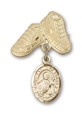 Pin Badge with St. Martin de Porres Charm and Baby Boots Pin - Gold Tone