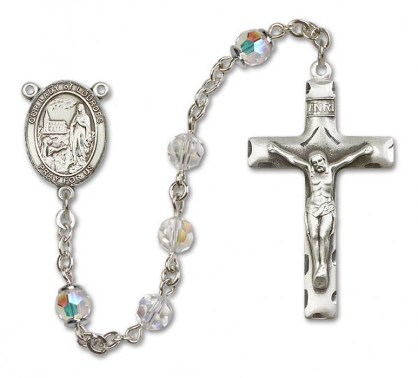Our Lady of Lourdes Sterling Silver Heirloom Rosary Squared Crucifix - Crystal