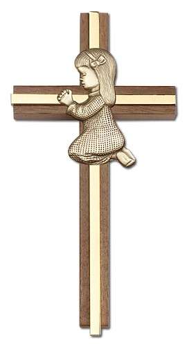 "Praying Girl Cross in Walnut 6"" with Metal Inlay - Gold Tone"