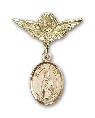 Pin Badge with St. Alice Charm and Angel with Smaller Wings Badge Pin - 14K Solid Gold