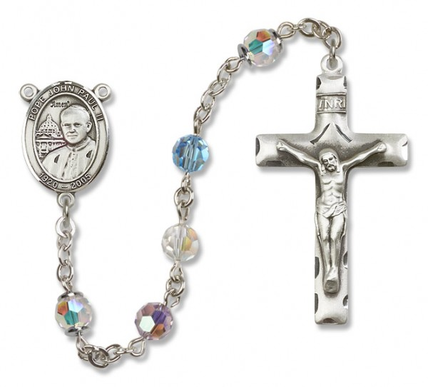 Pope John Paul II Sterling Silver Heirloom Rosary Squared Crucifix - Multi-Color