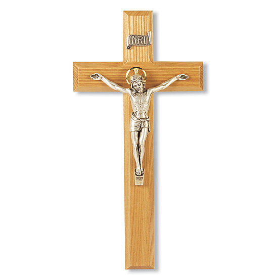 Golden Halo Oak Wall Crucifix - 11 inch - Brown