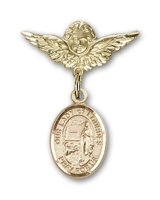 Pin Badge with Our Lady of Lourdes Charm and Angel with Smaller Wings Badge Pin - 14K Yellow Gold