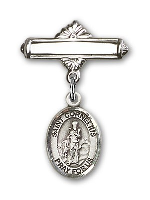 Pin Badge with St. Cornelius Charm and Polished Engravable Badge Pin - Silver tone