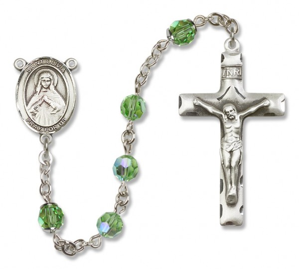 St. Olivia Sterling Silver Heirloom Rosary Squared Crucifix - Peridot