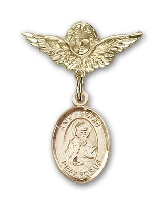 Pin Badge with St. Isidore of Seville Charm and Angel with Smaller Wings Badge Pin - 14K Solid Gold