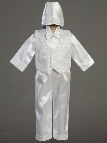 Boy's Embroidered Baptism Vest and Satin Pants - White