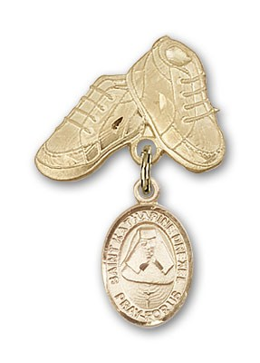 Pin Badge with St. Katherine Drexel Charm and Baby Boots Pin - 14K Solid Gold