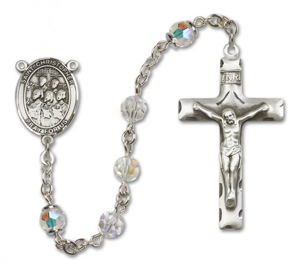 St. Christopher Choir Rosary Heirloom Squared Crucifix - Crystal
