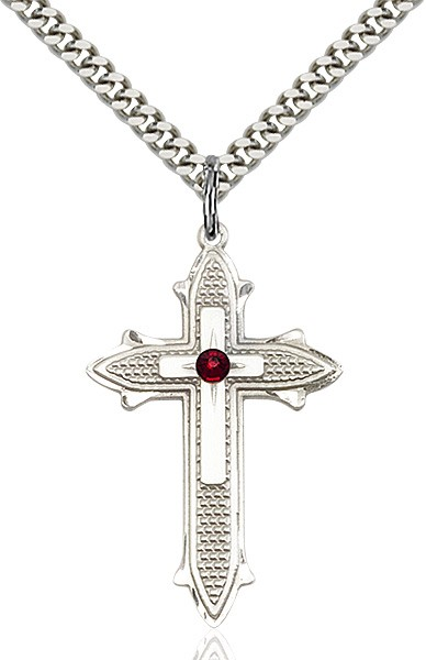 Large Women's Polished and Textured Cross Pendant with Birthstone Option - Garnet