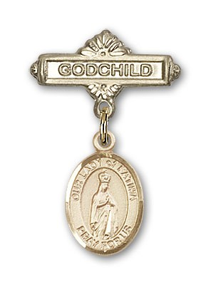 Baby Badge with Our Lady of Fatima Charm and Godchild Badge Pin - Gold Tone