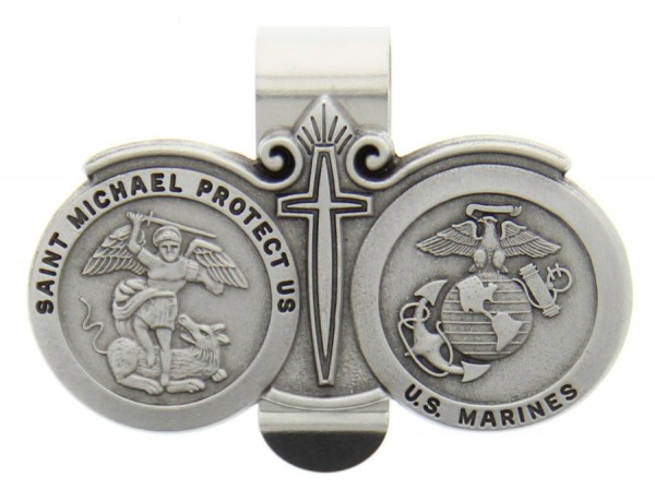 St. Michael U.S. Marines Visor Clip Pewter - Silver