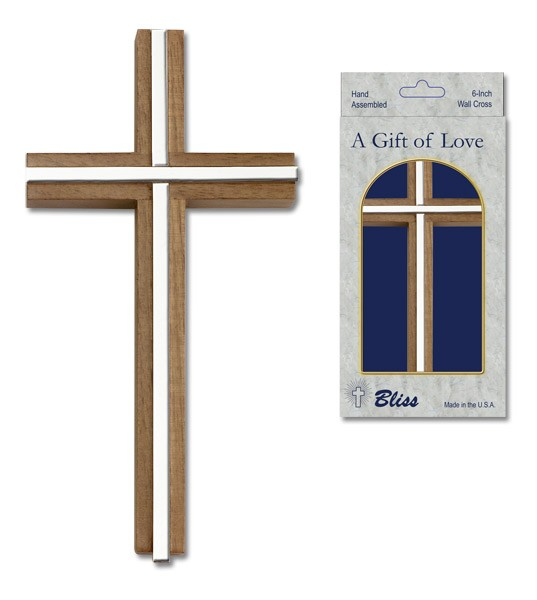 "Wall Cross Walnut with Metal Inlay 6"" - Silver tone"
