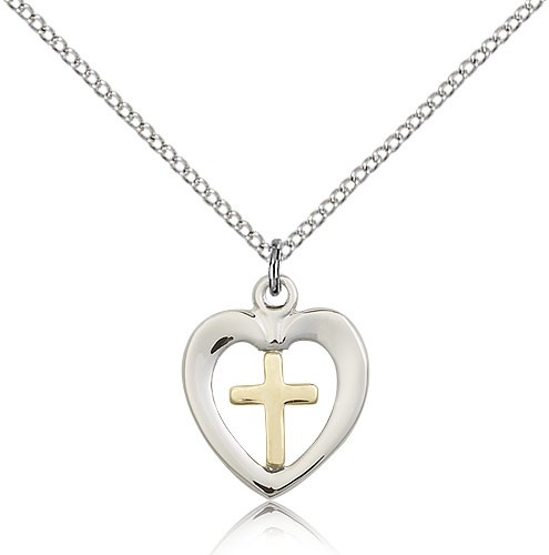 Heart and Cross Pendant Two-Tone - Two-Tone